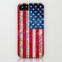 Distressed American Flag and 2nd Amendment On White Bricks Wall iPhone Case