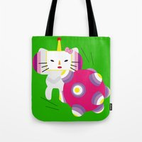 katamari Tote Bags featuring Katamari Kitty by Martine Verfaillie