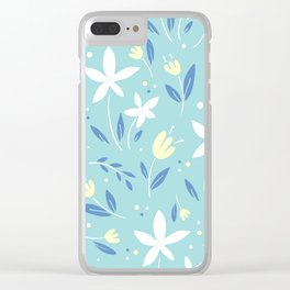sea kiss floral blue summer flowers pattern Clear iPhone Case