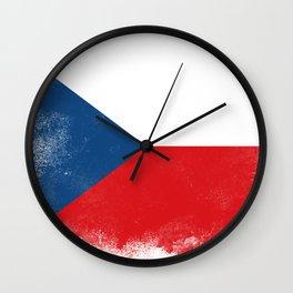 Czech flag isolated Wall Clock