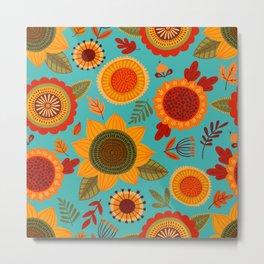 Vintage 70s Spring Sunflowers and Leaves  Metal Print