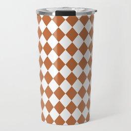 Hazel Brown Modern Diamond Pattern Travel Mug