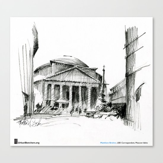 "Matthew Brehm, ""Roma Pantheon"" Canvas Print"