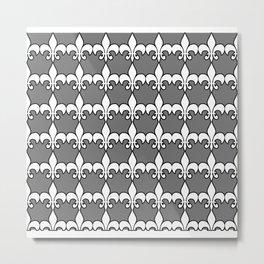 Fleur de lis white on grey Metal Print