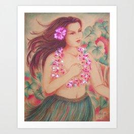 Vintage Hula, Wahine Art Print