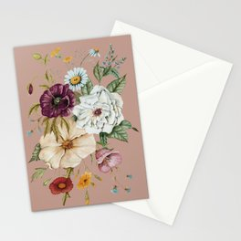 Colorful Wildflower Bouquet on Pink Stationery Cards
