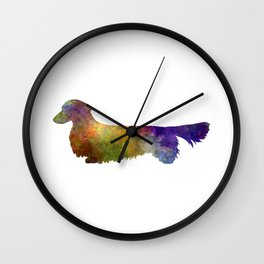 Dachshund Long Haired in watercolor Wall Clock