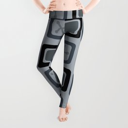 Mid Century Modern Squares Lines Slate Gray Black Leggings