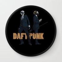 daft punk Wall Clocks featuring Daft Punk by joshuahillustration