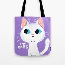 Cat Lover White Cat Tote Bag