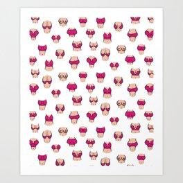Boobs in pink bra Art Print