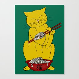 Cat eats mouse noodles  Canvas Print