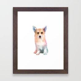 Corgi watercolor Framed Art Print