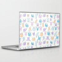 sloths Laptop & iPad Skins featuring Lazy Sloths Doodle - Pastel and Kawaii by KiraKiraDoodles