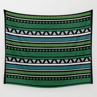 green pattern Wall Tapestries featuring Green Pattern by Corina Rivera Designs