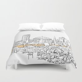 Modern and old Istanbul panorama drawing Duvet Cover