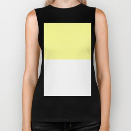 White and Pastel Yellow Horizontal Halves Biker Tank