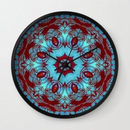 mandala 6 blue red #mandala Wall Clock