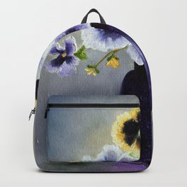 Pansies in a Purple Perfect Seal Jar Backpack