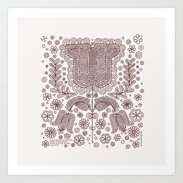 Folk Tulips Art Print