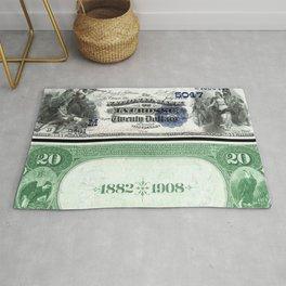 1882 Issue U.S. Federal Reserve Twenty Dollar Battle of Lexington Bank Note Rug