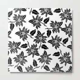 Black white modern vector poinsettia floral pattern Metal Print