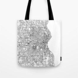 Milwaukee White Map Tote Bag