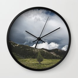 Landsape Waterton Meadow and Rolling Hills   Nature   Skyscape Clouds Wall Clock