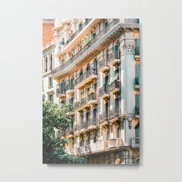 Barcelona City Print, Building Architecture In Spain, Travel Print, Downtown Urban Details Metal Print