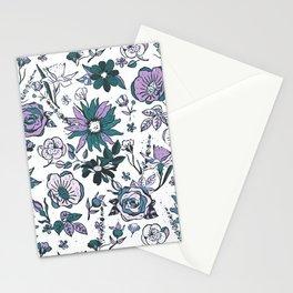 Lilac Purple, Dark Teal Blue & White Garden Chintz Stationery Cards