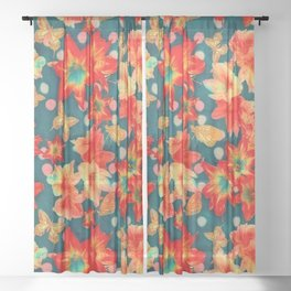 Amaryllis and Butterflies 2 Sheer Curtain