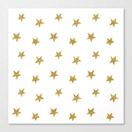 Merry christmas-Stars shining brightly-Gold glitter pattern Canvas Print