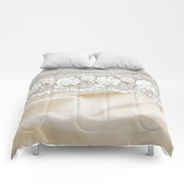 Bride lace - Luxury white floral elegant lace on cream silk fabric Comforters