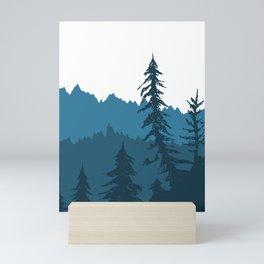 Tree Gradient Blue Mini Art Print
