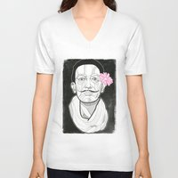 dali V-neck T-shirts featuring Dali by DonCarlos