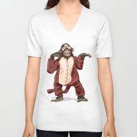 onesie V-neck T-shirts featuring Monkey Onesie by Alex Terry