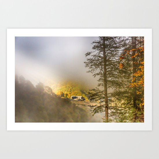 Mountains in the mist Art Print