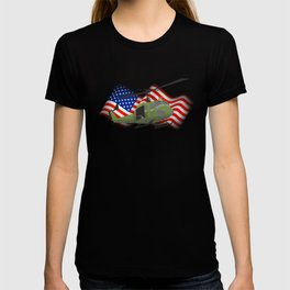 UH-1 Huey Helicopter with American Flag T-shirt
