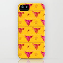 Red and pink Taurus watercolor pattern iPhone Case