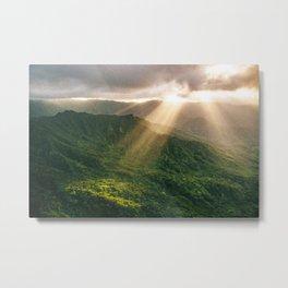 Oahu Afternoon Sunset Rays Metal Print
