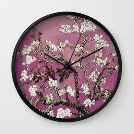 Vincent van Gogh Blossoming Almond Tree (Almond Blossoms) Fuchsia Sky Wall Clock