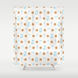 Milk and Cookies Pattern on Cream Shower Curtain