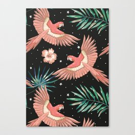 Pink macaw parrots on the starry night sky Canvas Print