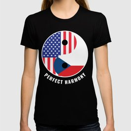 USA Czech Republic Ying Yang Heritage for Proud Czech American, Biracial American Roots, Culture, T-shirt