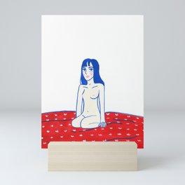 Blue hair Red sheets Mini Art Print