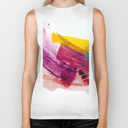 Pink Lemonade [2]: a minimal, colorful abstract mixed media with bold strokes of pinks, and yellow Biker Tank