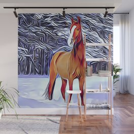 Chestnut Horse Walking in The Snow Wall Mural