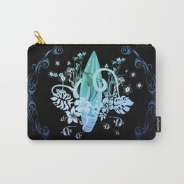 Surfing, tropical design with surfboard and flowers Carry-All Pouch