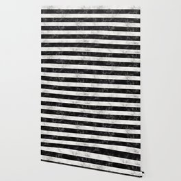 Black and White Marble Stripes Wallpaper