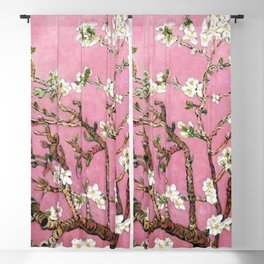 Vincent van Gogh Blossoming Almond Tree (Almond Blossoms) Pink Sky Blackout Curtain